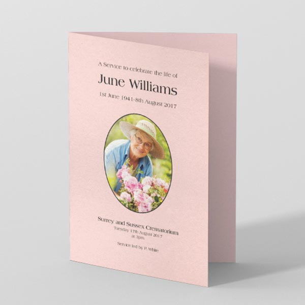 Picture of Light Pink Background with Photo - Order of Service (colour)